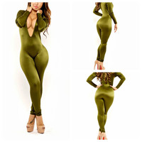 Green Deep V-Neck Long Sleeve Bodycon Jumpsuit