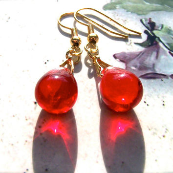 Red Preciosa Earrings, Glass Drop Beads, Gold Wires, Elegant, Fashion Earrings, Women, Girls, Ruby Red