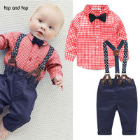 2016 fashion kids clothes  grid shirt + suspender newborn Long sleeve baby boy clothes Bowknot  gentleman suit free shipping