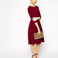 ASOS Tailored Midi Dress with Pleats and Full Skirt at asos.com