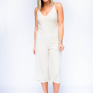 What's The Story Linen Jumpsuit in Taupe
