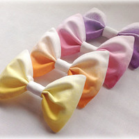 Ombré hair bow white into pink cotton fabric hair clip small