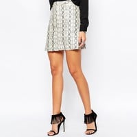 Faux London Python Skin Mini Skirt With Zip Front Detail at asos.com