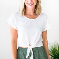 Thank Me Now Tie Front Crop Top in Ivory