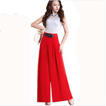 2016 New High Waist Chiffon Palazzo Pants Plus Size Available