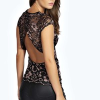Amelie Open Back Metallic Lace Short Sleeve Top