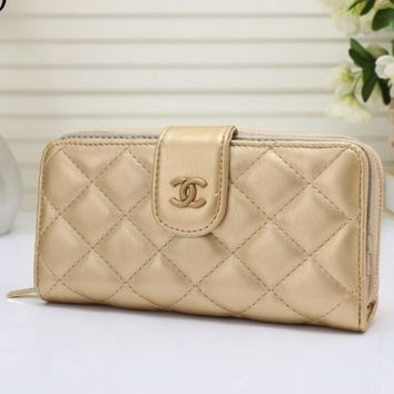 THE CHANEL Women Leather Purse Wallet Satchel bag H-MYJSY-BB