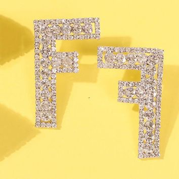 FENDI Fashion Women Exaggerated F Letter Full Shiny Diamond Earrings Accessories Jewelry