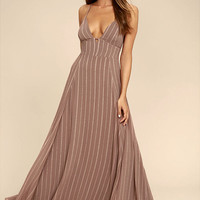 Elevate Light Brown Embroidered Maxi Dress