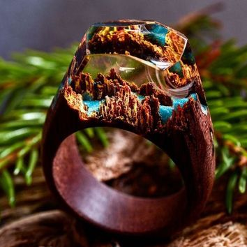 Popular Resin Magic Wooden Secret Forest Miniature World Volcanic Inside Wood Ring For Women Finger Bands Drop Ship Jewelry