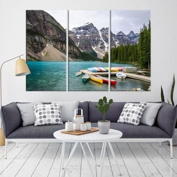 64331 - Canoeing at Moraine Lake, Moraine Lake Canvas Print, Moraine Lake Canada Wall Art, Extra Large Landscape Wall Art Canvas Print, Framed Wall Art, Large Canvas, Wedding Gift