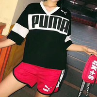 PUMA 2018 spring and summer women's fashion short sleeve + shorts two-piece F-AA-XDD black
