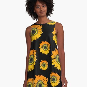 'Sunflowers on black background, summer flowers, floral pattern' A-Line Dress by cool-shirts