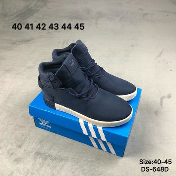 Adidas TUBULAR INVADER 750 High-Top Fashion Men Women Casual Skate Shoes Blue