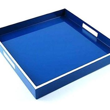 Square Lacquer Tray | 16 x 16 | True Blue with White Trim