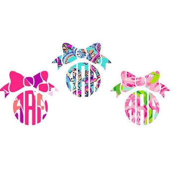 Lilly Pulitzer Monogram Bow Decal  , Lilly Inspired Decal Monogram, Lilly car decal, Lilly Pulitzer Yeti decal Custom Decal - Bow Monogram