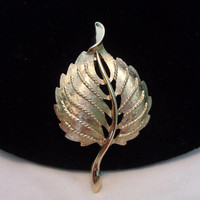 Monet Stylized Leaf Brooch Gold Plate Vintage 1960's Pin