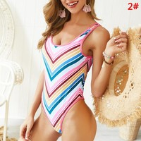 Fashion New Multicolor Stripe Beach Vest One Piece Bikini Swimming 2#