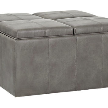 Julien Gray Storage Ottoman - Ottomans (Gray)