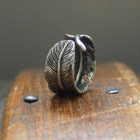 Raven Feather Bypass Ring cast in Solid White Bronze
