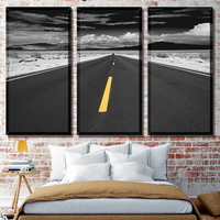 Road Canvas Decor, Wall Decoration Art, Black White Canvas, road in the distance, auto shop decor, skyline, road art, road car on canvas