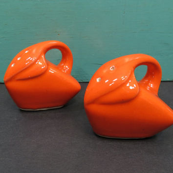 Art Deco Orange Salt and Pepper Shakers Modern Mid Century