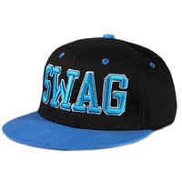 City Hunter Swag Neon Cotton Snapback Caps (Black/neon Blue)