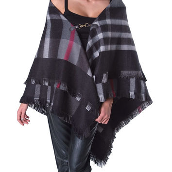 Bisou Plaid Wool Poncho - Multi Print