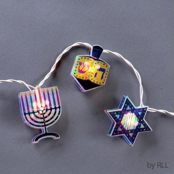 Hanukkah Lights - 10 Clear Bulbs On White Wire