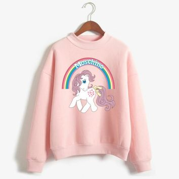 Autumn College Wind Cute Girl Strawberry Drink Sweatshirt Women Harajuku Cotton Plus Velvet Rainbow Pony Hoodies 2018 New