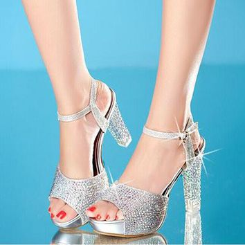 2017 Summer New High Heels Sandals Women Shoes Crystal Platform Fish Head Blue Gold Silver Diamond Fashion Female Shoes ZK15