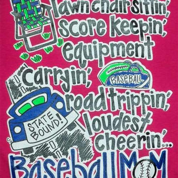 SALE Southern Chics Funny Baseball Mom Lawn Chair Sit Girlie Bright T Shirt