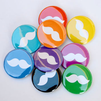 Rainbow of Mustache - Set of 9 Buttons - 1.5 inches