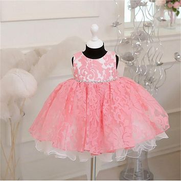 Toddler Girls Tutu Wedding Dresses Lace Flower Girls Clothes Newborn Baby Christening Gown Dress For Kids 1 Year Birthday Dress