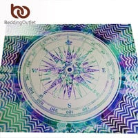 BeddingOutlet Compass Tapestry Colored Cool Indian Mandala Decorative Wall Tapestries 130cmx150cm 153cmx203cm tapisserie