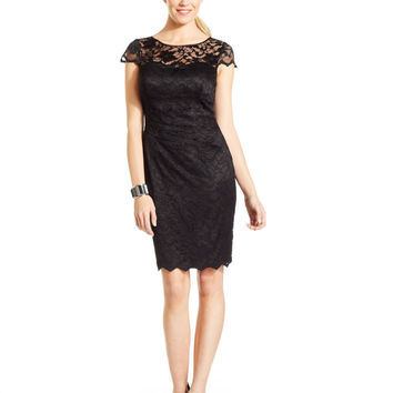 Eliza J Cap-Sleeve Illusion Lace Dress