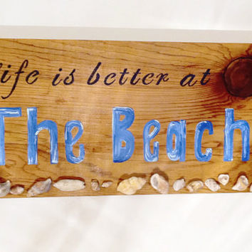 Rustic beach cedar wood sign with shells, beach decor