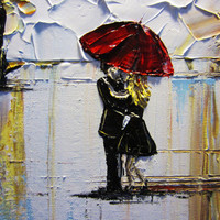 """CUSTOM Art Abstract Painting Trees Couple Red Umbrella Rain Landscape Textured Modern Palette Knife Spring MADE to ORDER 24x36"""" -Christine"""