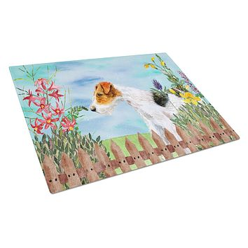 Fox Terrier Spring Glass Cutting Board Large CK1212LCB