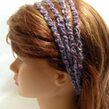 Crochet Stretchy Headband 4 Strand in Purple and Pink Small Medium