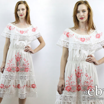 Mexican Dress Hippie Dress Hippy Dress Boho Dress White Dress Festival Dress Hippie Wedding Dress Vintage 70s Mexican Fiesta Dress S M L