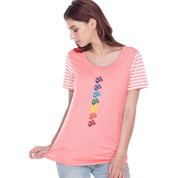 Yoga Clothing For You Chakra OMS Striped Multi-Contrast Yoga Tee Shirt