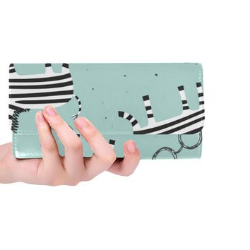 Cute Zebra Women's Trifold Long Clutch Wallets