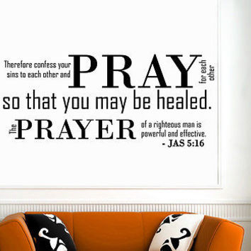 Wall Decal Bible Verses Psalms James 5:16 Therefore Confess Vinyl Sticker DA3637