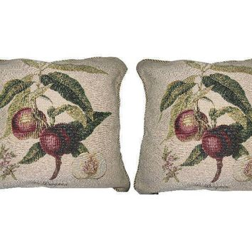 DaDa Bedding Set of Two Nectarine Fruits Throw Pillow Covers W/ Inserts - 2-Pcs - 18""