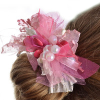 Handmade pink blank for hairpin or brooch creation textile basis for accessories