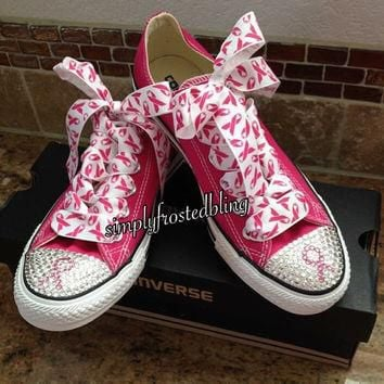 Breast cancer awareness bling converse