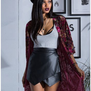 Licensed cool NEW Burgundy Floral Velvet Kimono Open Front Duster Top JR M Hot Topic EXCLUSIVE