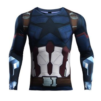 Avengers 3 Captain America 3D Printed T shirts Men Compression Shirt 2018 Comics Cosplay Costume Clothing Long Sleeve Tops Male