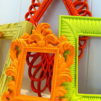 Empty Frame Collection Set, Bright and Chic, Upcycled Home Decor, Funky Vintage, Lime, Orange